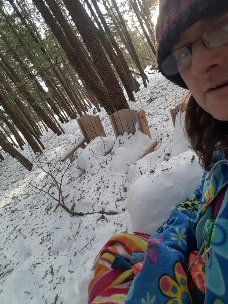 snow bench, me